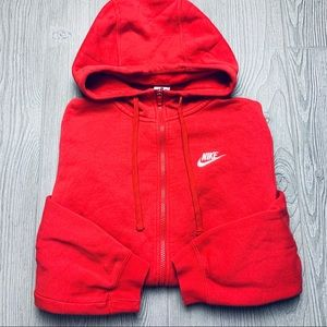 Nike red classic zip up high neck jacket with logo